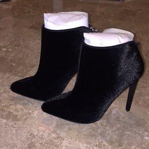 Faux fur high heel booties
